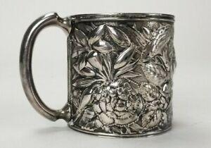 Antique Meriden B. Company Quadruple Silverplated Repousse Flower Cup Mug