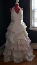 David's Bridal Size 18w halter white wedding gown