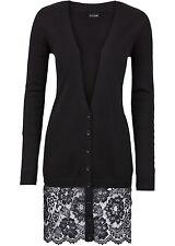 bodyflirt - Damen Strickjacke mit Spitze in schwarz Größe 32/34 36/38 NEU