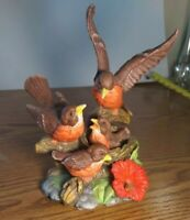 Lefton Vintage Robin Family With Nest and Babies It's  Feeding while perched....