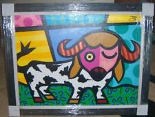 "Jozza ""La Vaca"" The Bull Custom Framed Original Acrylic on Canvas art Brazilian"