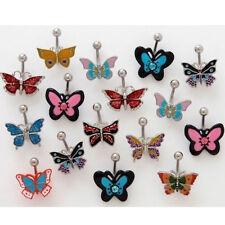 B#73 - 12pc Enamel Butterfly Dangle 14g Belly Rings Navel 316L Surgical Steel