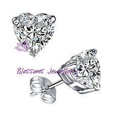 18CT 18K  White GOLD GF Heart Stud EARRINGS w/SWAROVSKI Lab DIAMOND  SE449