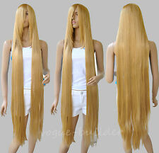 130cm 51'' Long Rapunzel Tangled Light Golden Blonde Straight Cosplay Hair Wig