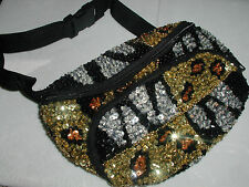 GLITTERING LEOPARD ZEBRA SEQUIN FANNY PACK PURSE CHRISTMAS GIFT TO WEAR ALL YEAR