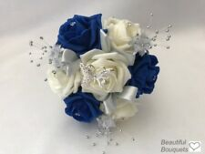 Wedding Flowers Ivory Rose Royal blue bouquet Bride, Bridesmaid Flower-Girl Wand