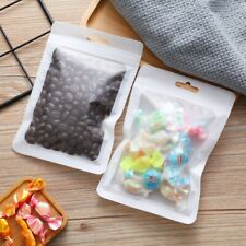 100Pcs Resealable Zipper Food Storage Bag Bags With Transparent Window Packaging