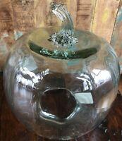 Pottery Barn Pumpkin Cloche Recycled Glass Large Thanksgiving NIB Halloween