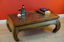 Opium Tisch Elefanten Schnitzerei Couchtisch Holz massiv Glasplatte Massivholz