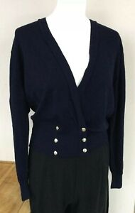St Michael Vintage Navy cardigan pure wool UK14 Gold Buttons high rib