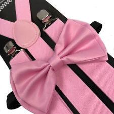 Light Pink Bow Tie & Suspender Set Tuxedo Wedding Formal Men's Accessories