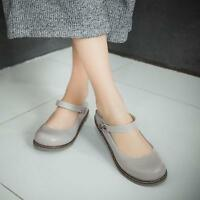 Fashion Casual Womens Flat Round toe Girls Ankle Strap Preppy Mary Janes Shoes