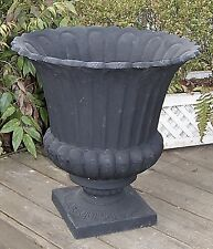 "18"" Tall 18 3/4"" Wide Black Cast Iron Urn Garden Decor Patio Urn Planter Fleur"