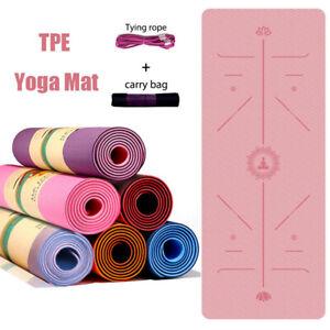 Yoga Matte TPE Fitnessmatte Gymnastikmatte Pilates Sportmatte Bodenmatte 183cm