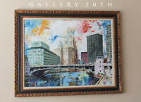 WOW! MID CENTURY MODERN CHICAGO CITYSCAPE PAINTING! ATOMIC DAILY NEWS SUN TIMES