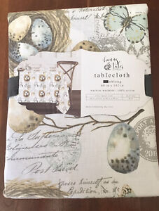 Easter Tablecloth 60 X 102 NWT Bunny Tales Neutral Colors Pier 1