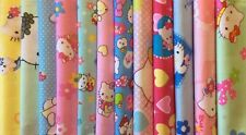 Lot de 12 tissus Hello Kitty  Patchwork chaque tissu 20x20cm
