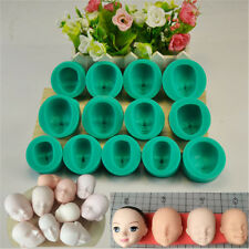 13pcs Silicone Doll Face Mould Sugarcraft Chocolate Cake Decorating Baking Mold