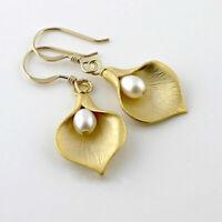 18K Yellow Gold Plated Ear Hook Dangle Drop Lily Petal Pearl Earrings Jewelry