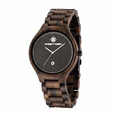 Herren Armbanduhr schwarzes Holz Uhr Kalender analog Daily Watch lässig leichte