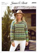 Marble Chunky Knitting Pattern Ladies Cabled Sweater Jumper James Brett JB454