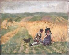 D'après Aimé PERRET 1847- 1927 L'aveu dans les blés 1885 Bresse Bourgogne XIX XX