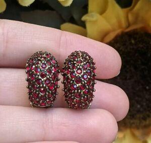 Heidi Daus Red Crystal Huggie Half Hoop Clip On Earrings