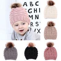 Baby Toddler Girl Boy Infant Warm Winter Fur Pom Knit Beanie Hat Crochet Ski Cap