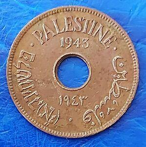 Israel Palestine British Mandate 10 Mils 1943 Bronze Coin XF