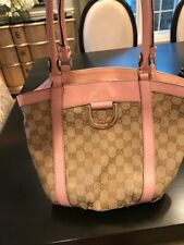 Gucci Gold D-Ring Gg monogram pink and beige leather and canvas shoulder bag