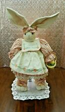 "Vtg 18"" Tall Bunny w/Stand made w/Hardener Materials & Handpainted Dress Preown"