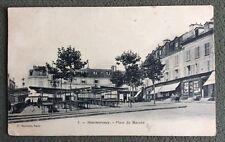 CPA. MONTMORENCY. 95 - Plzce du Marché. 1905. Librairie Cuichot. Commerces.