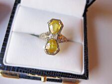 ANTIQUE 14K WHITE GOLD FILIGREE RING with NATURAL CITRINE & DIAMOND,ART DECO