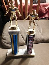 Vintage Swimming Trophies Lot of 2 with Marble Base