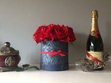 Artificial red silk roses flower arrangement in hat box - good Ruby Wedding Gift