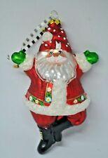 Htf Mary Engelbreit Dancing Santa Blown Glass Christmas Ornament