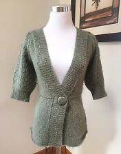 IF IT WERE ME Green Nature Boho V Neck Puff Sleeve Knit Sweater Cardigan Small