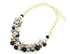 CC374 * Collier Chaîne Métal Plastron Grappe de Perles Mode Femme - Noir / Gris