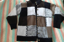 FULLY FASHION ANGORA RABBIT HAIR BROWN,GRAY, black sweater cardigan PATCHES y5