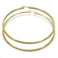 Extra Large Real Gold Plated Round Hoop Earrings 18K Gold layered (80mm x 2mm)
