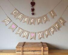 ❤️ 50th Gold Wedding Anniversary Bunting Banner. Hessian Burlap Rustic Vintage ❤