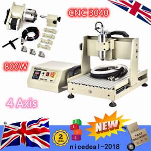800W 4 Axis CNC 3040 Router Engraving Machine Cutter Carving Milling Upgrade
