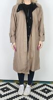 Trench Coat Raincoat UK 14 Large Mac Mid Long Lined Brown   (43H)