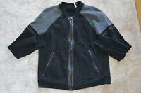 Prada Black Grey Leather Trim Zip Through Bomber Jacker Jumper Mens Large/Small