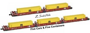 AZL 906509 Z Maxi-I BNSF Articulated Doublestack 5-Car Set 237330 MSC Containers