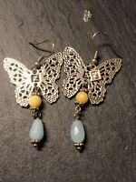 FENDI Gold pl Butterfly Earrings With Semi-precious stone drops