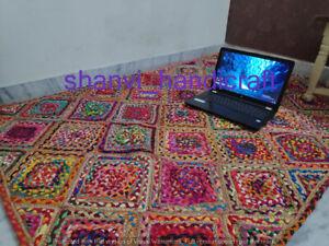 Braided Jute Cotton Reversible Rug Floor Handmade Decorative Carpet 6x9 Feet Rug