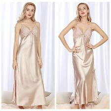 Lady Silky Satin Lace Full Slip Long Dress V Neck Strap Slim Sleepwear Retro New