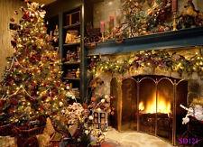 Us Stock 7X5Ft Christmas Fireplace Vinyl Studio Backdrop Photography Background