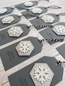 Handmade Christmas Gift Tags - White Wooden Snowflake On Grey Tags - Xmas/10